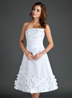 Forme Princesse Sans bretelle Longueur genou Taffeta Robe de soirée étudiante avec Fleur(s) (022015561)