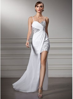 Robe de Bal de Promo Gaine Cur Assymetrique Mousseline Robe de Bal de Promo avec Ondul Brod (018022506)