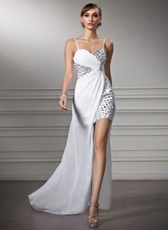 Vestido tubo Novio Asimétrico Gasa Vestido de baile de promoción (018022506)