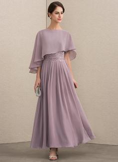 A-Linie U-Ausschnitt Knöchellang Chiffon Spitze Kleid für die Brautmutter mit Perlstickerei Pailletten (008152152)