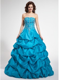 Ball-Gown Strapless Floor-Length Taffeta Quinceanera Dress With Embroidered Beading (021002872)
