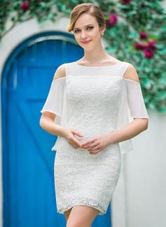 Forme Fourreau Epaules nues Court/Mini Dentelle Robe de mariée avec Robe à volants (002050394)