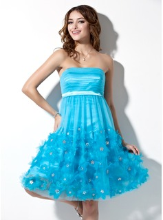 Empire Strapless Knee-Length Tulle Charmeuse Homecoming Dress With Ruffle Beading Flower(s) (022004338)