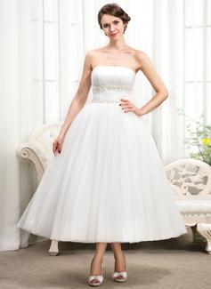Corte de baile Estrapless Hasta la tibia Tul Vestido de novia con Volantes Bordado Los appliques Encaje Lentejuelas (002056482)