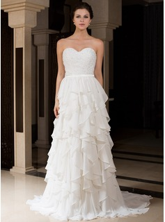 A-Line/Princess Sweetheart Sweep Train Chiffon Charmeuse Wedding Dress With Beading Cascading Ruffles (007027466)