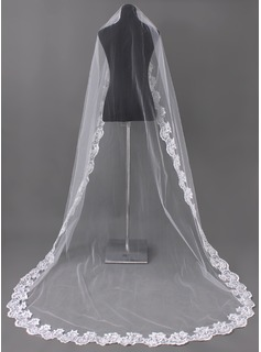 One-tier Cathedral Bridal Veils With Lace Applique Edge (006002242)