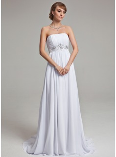 Empire Strapless Court Train Chiffon Wedding Dress With Ruffle Beading (002001171)