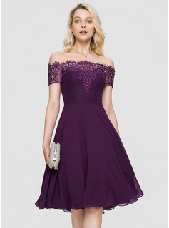 A-Line Off-the-Shoulder Knee-Length Chiffon Cocktail Dress With Beading Sequins (016197084)