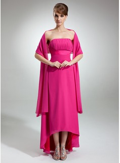 Empire Strapless Asymmetrical Chiffon Bridesmaid Dress With Ruffle (007000990)