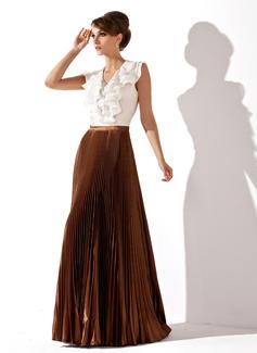 A-Linie/Princess-Linie V-Ausschnitt Bodenlang Chiffon Charmeuse Kleid für die Brautmutter mit Gestufte Rüschen Gefaltet (008025931)