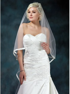 One-tier Cathedral Bridal Veils With Ribbon Edge (006022597)