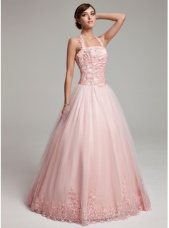 Ball-Gown Halter Floor-Length Taffeta Tulle Quinceanera Dress With Ruffle Beading Appliques Lace (021002881)