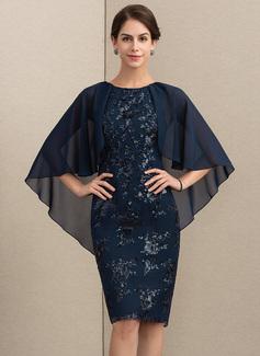 Etui-Linie U-Ausschnitt Knielang Chiffon Pailletten Kleid für die Brautmutter (008164060)