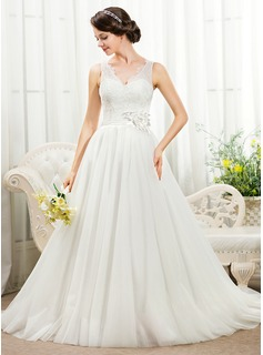 Ball-Gown V-neck Court Train Tulle Charmeuse Lace Wedding Dress With Beading Flower(s) Sequins (002055918)