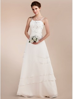 A-Line/Princess Sweetheart Floor-Length Chiffon Satin Wedding Dress With Lace Beading (002011644)