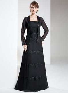 A-Linie/Princess-Linie Trägerlos Bodenlang Chiffon Kleid für die Brautmutter mit Spitze Perlstickerei Pailletten (008006304)