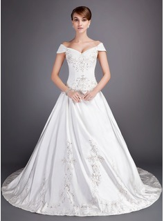 Ball-Gown Off-the-Shoulder Chapel Train Satin Tulle Wedding Dress With Embroidered Beading Sequins (002012813)