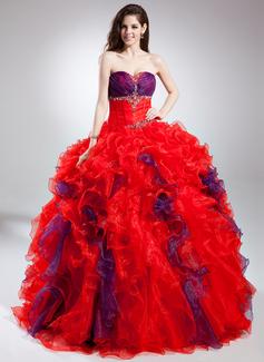 Duchesse-Linie Herzausschnitt Bodenlang Organza Quinceañera Kleid (Kleid für die Geburtstagsfeier) mit Perlen verziert Gestufte Rüschen (021015885)