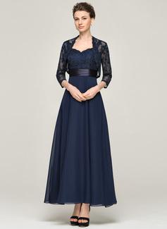 A-Linie/Princess-Linie Schatz Knöchellang Chiffon Spitze Kleid für die Brautmutter (008062564)