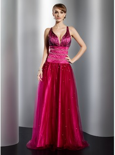 Robe de Bal de Promo Ligne-A/Princesse Col V Longeur au sol Satin Tulle Robe de Bal de Promo avec Brod (018014778)