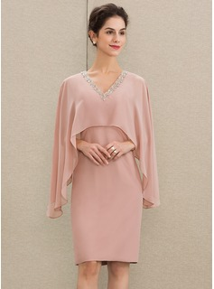 Sheath/Column V-neck Knee-Length Chiffon Mother of the Bride Dress With Beading (008179213)
