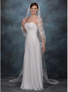 One-tier Cathedral Bridal Veils With Lace Applique Edge (006020337)