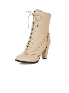 Leatherette Chunky Heel Ankle Boots With Lace-up shoes (088055035)