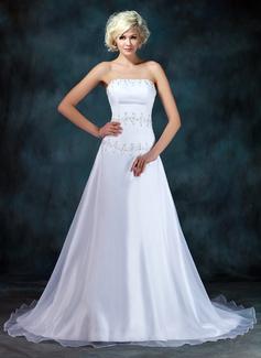 A-Line/Princess Strapless Chapel Train Organza Satin Wedding Dress With Ruffle Beading Sequins (002001403)