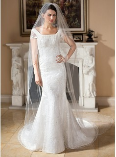 Trumpet/Mermaid Square Neckline Court Train Satin Lace Wedding Dress With Beading Sequins (002000257)