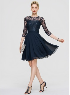 A-Line Scoop Neck Knee-Length Chiffon Cocktail Dress (016189322)
