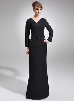 Etui-Linie V-Ausschnitt Bodenlang Chiffon Kleid für die Brautmutter mit Perlen verziert (008005953)