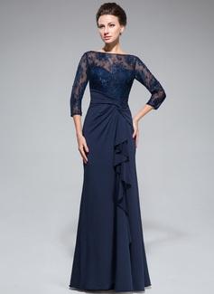 Empire-Linie U-Ausschnitt Bodenlang Spitze Jersey Kleid für die Brautmutter mit Perlstickerei Pailletten Schlitz Vorn Gestufte Rüschen (008050415)