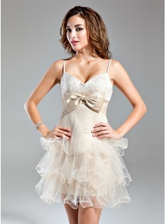 Cheap Homecoming Dresses Empire Sweetheart Short/Mini Organza Satin Homecoming Dress With Lace (022015513)