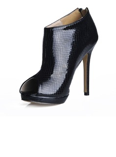 Patent Leather Stiletto Heel Peep Toe Ankle Boots With Animal Print (088016953)