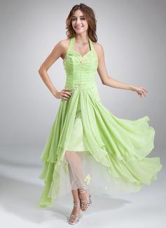 A-Linie/Princess-Linie Träger Asymmetrisch Chiffon Festliche Kleid mit Rüschen Perlstickerei Applikationen Spitze Pailletten (020036568)