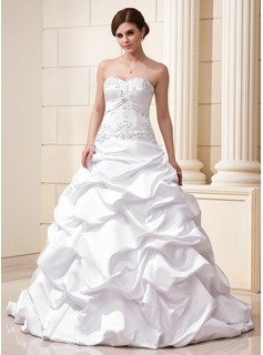 Ball-Gown Sweetheart Court Train Satin Wedding Dress With Ruffle Beading Appliques Lace Sequins (002012635)