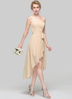 A-Linie/Princess-Linie Eine Schulter Asymmetrisch Chiffon Brautjungfernkleid mit Rüschen Schleife(n) Gestufte Rüschen (007090203)