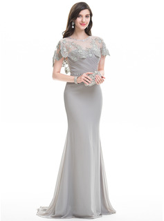 Sheath/Column Sweetheart Sweep Train Chiffon Evening Dress With Ruffle Beading (017105910)
