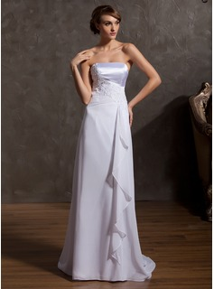 A-Line/Princess Strapless Sweep Train Chiffon Charmeuse Wedding Dress With Appliques Lace Cascading Ruffles (002014936)