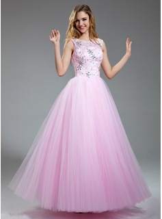 Ball-Gown Scoop Neck Floor-Length Tulle Prom Dresses With Beading Sequins (018018997)