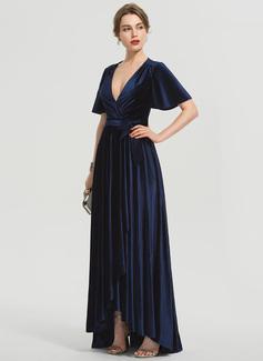 Трапеция V-образный асимметричный бархат Платье Для Выпускного Вечера с Бант(ы) (018192350)