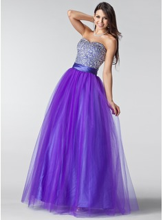 Robe de Bal de Promo Ligne-A/Princesse Cur Longeur au sol Tulle Charmeuse Robe de Bal de Promo avec Ondul Brod Paillet (018004898)