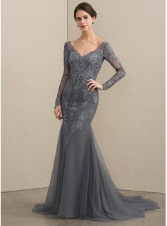 Trumpet/Mermaid V-neck Court Train Tulle Lace Evening Dress (017192584)