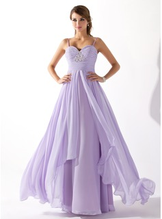 Robe de Bal de Promo Ligne-A/Princesse Cur Longeur au sol Mousseline Robe de Bal de Promo avec Ondul Brod (018004835)