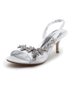Women's Satin Stiletto Heel Sandals Slingbacks With Rhinestone (047005984)