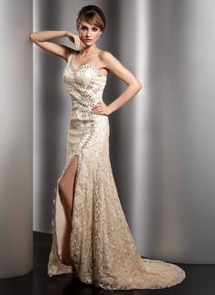 A-Linie/Princess-Linie One-Shoulder-Träger Sweep/Pinsel zug Spitze Kleid für die Brautmutter mit Perlen verziert Schlitz Vorn (008005973)