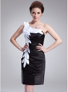 Sheath/Column One-Shoulder Knee-Length Charmeuse Cocktail Dress With Ruffle Sash Flower(s) (016008869)