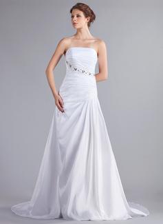 A-Line/Princess Strapless Chapel Train Taffeta Wedding Dress With Ruffle Beading Bow(s) (002026259)