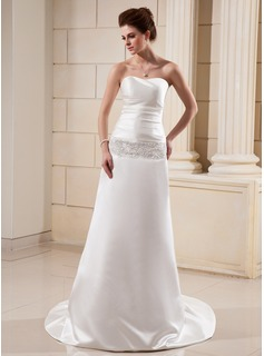 Sheath/Column Sweetheart Chapel Train Satin Wedding Dress With Ruffle Lace Beading (002012147)