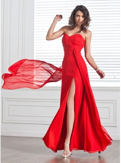 A-Line/Princess Sweetheart Floor-Length Chiffon Evening Dress With Ruffle Split Front (017025912)